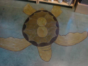 This is a Stained Concrete Turtle with Epoxy